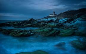 Картинка море, ночь, синий, огни, скалы, маяк, сумерки