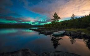 Картинка пейзаж, природа, озеро, отражение, камни, рассвет, лодка, Ole Henrik Skjelstad