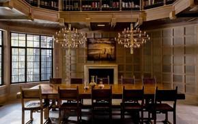 Картинка стиль, интерьер, камин, библиотека, столовая, New-York State, Gissler Country Home