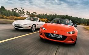 Картинка белый, оранжевый, Mazda, MX-5, родстеры, первое поколение (NA), четвёртое поколение (ND)