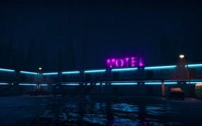 Картинка ночь, дождь, неон, Мотель, Motel, Road 96