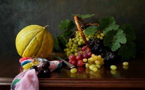 Картинка виноград, гроздь, тыква, платок