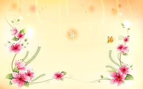 Картинка цветы, обои, вектор, лепестки, открытка