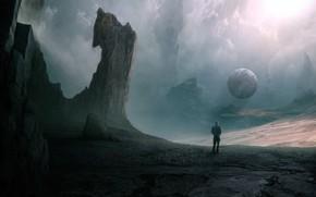 Картинка Облака, Горы, Скалы, Человек, Планета, Clouds, Арт, Art, Planet, Фантастика, Fiction, Mountains, Rocks, Man, Пространство, …
