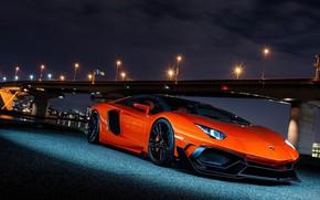 Картинка Lamborghini, Orange, Bridge, Lights, Night, Aventador, VAG