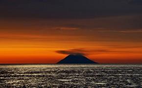 Картинка море, остров, вулкан, Италия, зарево, Стромболи