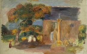 Картинка картина, 1902, Пьер Огюст Ренуар, Pierre Auguste Renoir, Пейзаж в Бретани. Дом и Альтаир