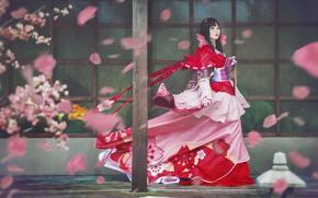 Картинка взгляд, девушка, цветы, красный, поза, стиль, ветер, красное, улица, столб, весна, макияж, лепестки, сакура, платье, …