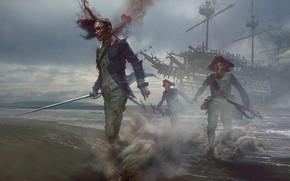 Картинка оружие, магия, берег, корабль, солдат, Мертвец