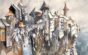 Картинка рисунок, гора, дома