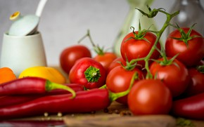 Картинка перец, овощи, помидоры, томаты, боке