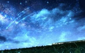 Картинка небо, ночь, природа, поезд, падающие звезды, CZY