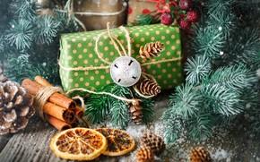 Картинка снег, украшения, Новый Год, Рождество, подарки, christmas, balls, wood, winter, snow, merry, decoration, gift box, …
