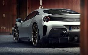 Картинка серый, Ferrari, корма, Novitec, 488, Pista, 2019