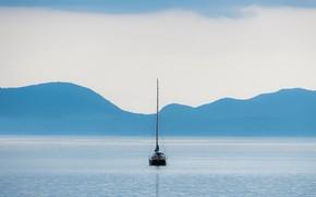 Картинка море, лодка, минимализм