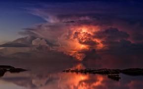 Картинка Небо, Вода, Облака, Океан, Море, Молния, Горизонт, Тучи, Гроза, Тишина, Light, Молнии, Пейзаж, Clouds, Sky, …