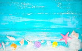 Картинка песок, пляж, фон, доски, звезда, ракушки, summer, beach, vintage, wood, sand, marine, starfish, seashells