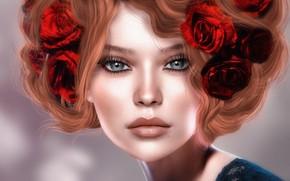 Картинка девушка, цветы, лицо, рендеринг, волосы