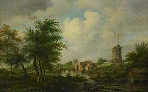 Картинка пейзаж, масло, картина, ветряная мельница, 1807, Ян Хулсвит, Городские ворота, Jan Hulswit