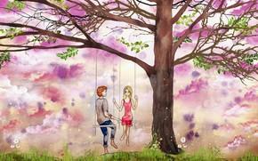 Картинка качели, дерево, рисунок, пара