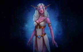 Картинка WOW, Fantasy, Blizzard, Art, Night Elf, Night, World of WarCraft, WarCraft, Elf, Naga, Sea Witch, …