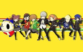 Картинка маленькие, персонажи, жёлтый фон, Persona, Персона