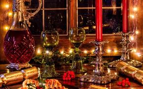 Картинка ягоды, вино, свечи, бокалы, окно, Рождество, пирожное, выпечка, графин