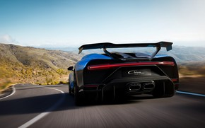 Картинка скорость, Bugatti, вид сзади, гиперкар, Chiron, 2020, Pur Sport