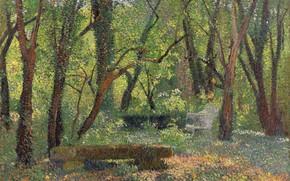Картинка природа, картина, Анри-Жан Гильом Мартин, Henri Matrin, Пейзаж с Каменной Скамьей