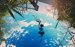 Картинка небо, вода, отражение, школьница