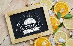 Картинка лимон, апельсин, лёд, lemon, ice, summer, фрукты, fruit, orange, citrus, hello, slice