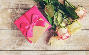 Картинка любовь, подарок, розы, букет, лента, love, розовые, pink, flowers, romantic, valentine's day, roses, gift box