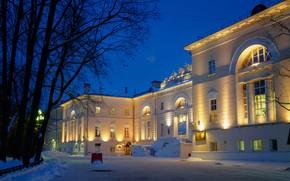 Картинка зима, снег, деревья, ночь, огни, фонари, Москва, Россия, университет, Bauman Moscow State Technical University