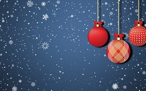 Картинка Минимализм, Снег, Рождество, Снежинки, Фон, Новый год, Праздник, Арт, Christmas, Art, Настроение, Игрушки, Snow, New …