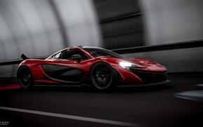 Картинка Красный, Авто, Игра, Машина, Red, Car, Supercar, McLaren P1, Game Art, Forza Horizon 4, Transport …