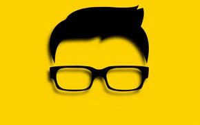 Картинка абстракция, лицо, волосы, очки