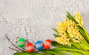 Картинка цветы, яйца, colorful, Пасха, happy, yellow, wood, верба, flowers, Easter, eggs, decoration, hyacinth