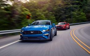 Картинка скорость, Ford, Chevrolet, Camaro SS, Mustang GT, 2019, Performance Pack