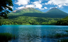 Картинка Nature, Clouds, Sky, Landscape, Water, Mountain, Lake, Trees