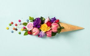 Картинка цветы, фон, голубой, розы, бутоны, Natalia Klenova