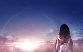 Картинка закат, девочка, рюкзак