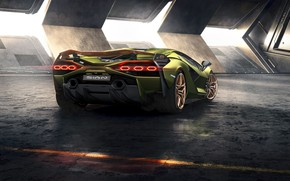 Картинка машина, Lamborghini, фонари, суперкар, диски, гибридный, Sián