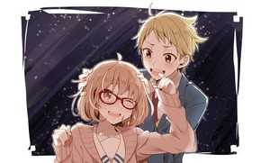 Картинка аниме, арт, двое, kyoukai no kanata, kuriyama mirai, kanbara akihito
