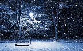 Картинка зима, снег, скамейка, ночь, фонарь