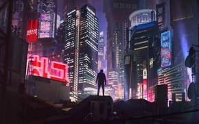 Обои Ночь, Город, Будущее, Неон, Человек, Здания, Арт, Art, Neon, Киберпанк, Cyberpunk, by Alexander Dudar, Alexander ...