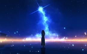 Картинка вода, девушка, ночь, звезда