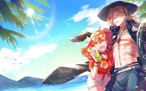 Картинка пляж, лето, девушка, парень, Fate / Grand Order, Судьба великая кампания