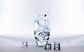 Картинка вода, стакан, лёд