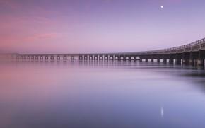 Картинка закат, мост, берег