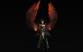 Картинка Girl, Fantasy, Fire, Art, Style, Magic, Background, Minimalism, Wings